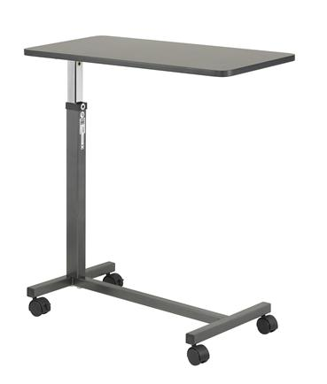 Non-Tilt Overbed Table - Silver Vein Base and Mast, Walnut Top DRI13067