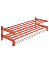 Rigid Rak™ 4-Rail Tubular Steel Wall Rack - Double Shelf with Hanger Pole DAT460-2